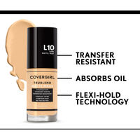 covergirl trublend matte made foundation is transfer resistant and absorbs oil